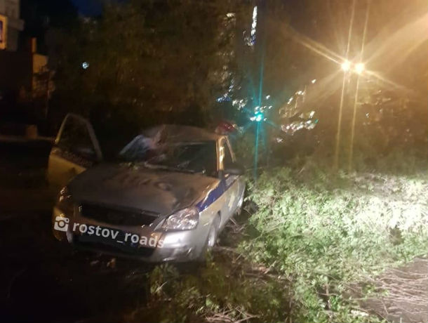 В Ростове дерево раздавило машину ДПС