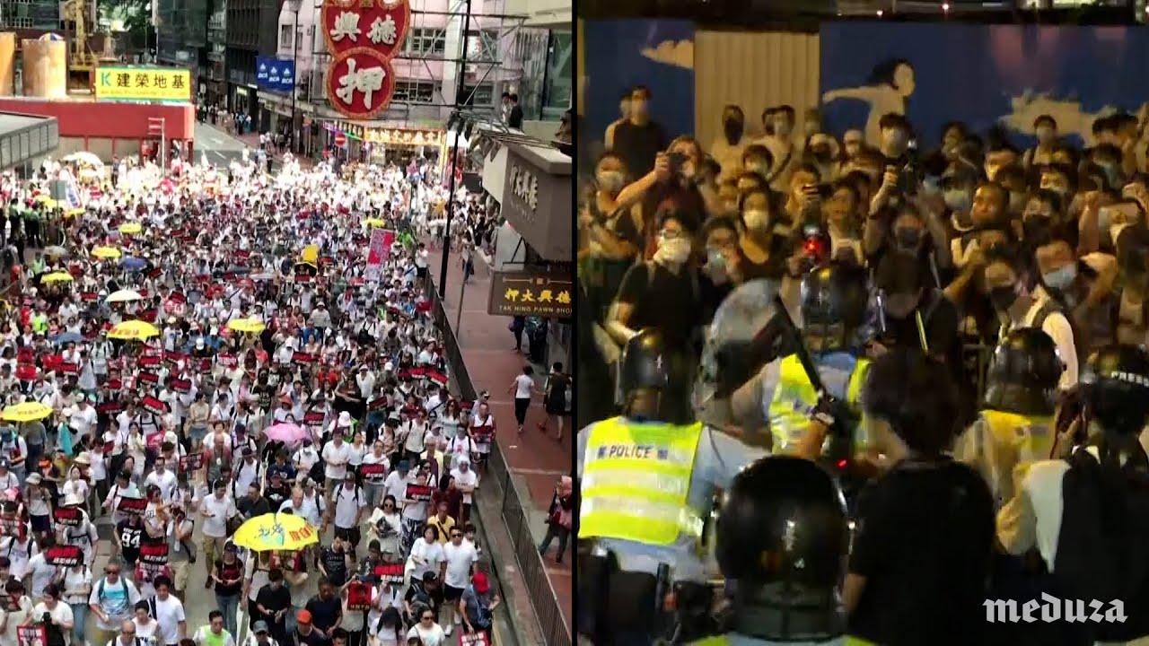 В Гонконге 22 человека пострадали во время акции протеста